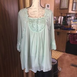 Denim 24\7 plus size sea foam green blouse